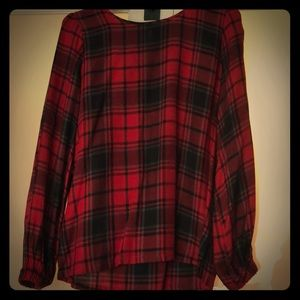 Red plaid cotton shirt